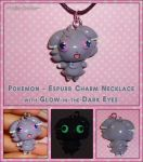 Pokemon - Espurr Charm Necklace with Glowing Eyes by YellerCrakka