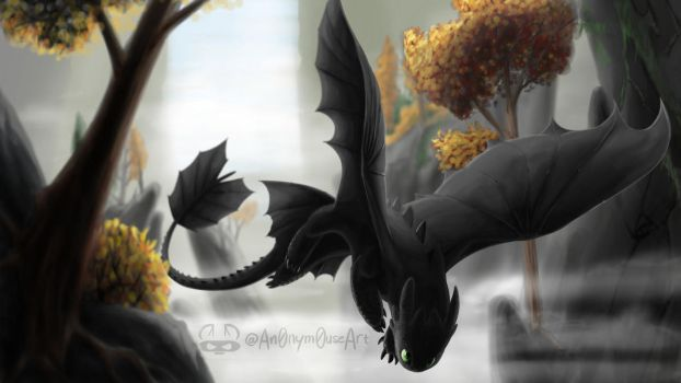 Toothless (Speedpaint) by An0nym0useArt