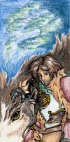 A Druid and his Wolf by Arkatera