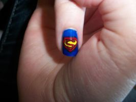 Superman Nails Close-Up by QueenAliceOfAwesome