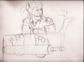 WIP: Kimahri in the Machina Stocks by ChaosGreiga