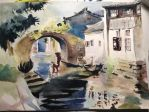 Painting of a Painting of Bridge over Water by YukiraHanou