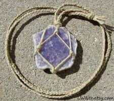 Hemp Wrapped Healing Crystal Lepidolite Necklace by LWaite