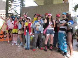 A-Kon 23: Pokemon shoot: All trainers by Inept-Evil-Genius
