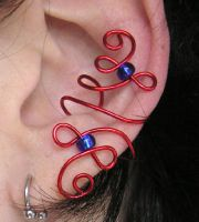 Red and Blue ear cuff by lavadragon