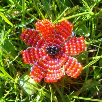 Red Anemone Bead Brooch by Milliebead