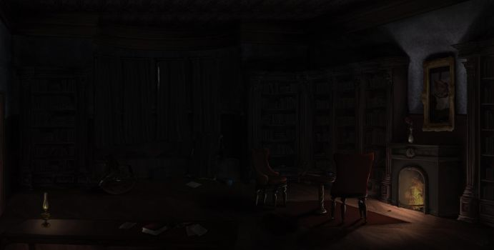 Victorian manor's library - Concept Art by ChiNephyn