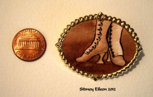 Brown Boots on Large Gold-Tone Pin by sidneyeileen