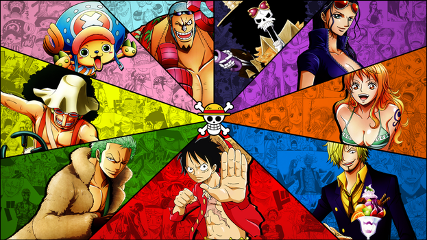 One Piece Mugiwaras wallpaper (textless version) by Marcos-Inu