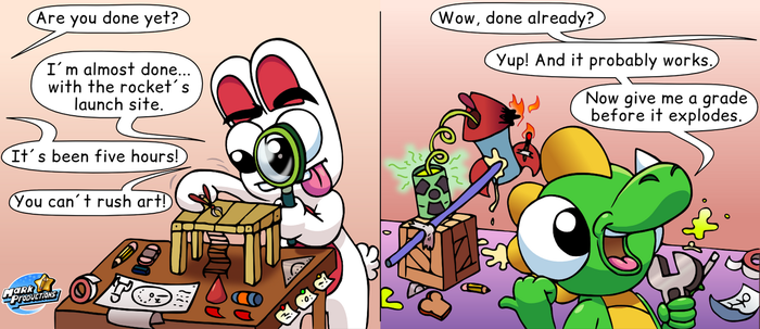 Rabbit and Dino (test comic 1) by MarkProductions
