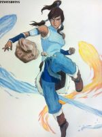Korra Bending Drawing by Pinoyshot95