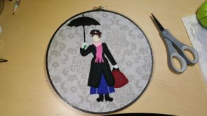 Mary Poppins Silhouette Embroidery Hoop by monstersbyechidna