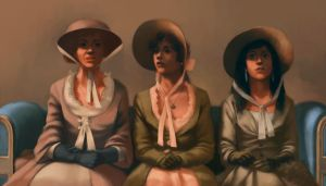Mrs. Bennet and her two youngest daughters by giorgiobaroni