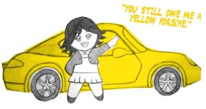 Alice's yellow Porshe by beginthebegin