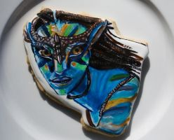 Neytiri Avatar Painted Cookie by SugarRushCustomCooki