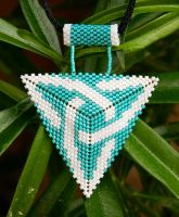 CELTIC KNOT turquoise and white beaded pendant by YANKA-arts-n-crafts