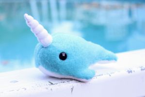 Little Bright Blue Narwhal by BeeZee-Art
