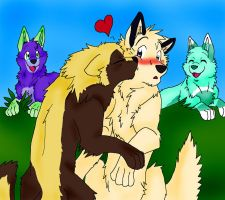Art Trade - Anne and Seth Kiss by Firewolf-Anime