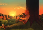 Commission: Cuddles at sunset by Afterlaughs