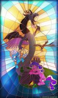 Stained glass window with Discord n Screwball by alexmakovsky
