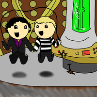 Sherlock and John jumping rope in the TARDIS by ExtremlySelfishChild