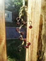 Carnelian and gold wire wrapped necklace by WyckedDreamsDesigns