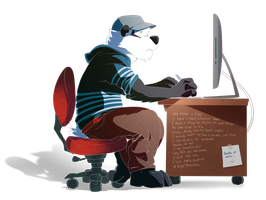 PANDA AT WORK by super-tuler