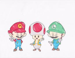 MARIO, TOAD AND LUIGI by hclix