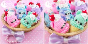 Crochet ice-cream bear Charm by CuteMoonbunny