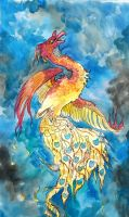 Firebird in watercolor by jupiterjenny