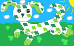 Lucky Shamrock Running (With Background) by MidnightPizzaShimmer