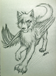 Sketch: Winged wolf- Chen by Marshcold