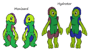 Colored- Monizard and Hydrotor by Casey333