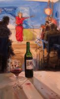 Three bottles of wine by AL1970ART