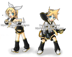 Rin and Len Keychain by ZeroJung