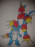 Veemon and Flamedramon Speed Drawing by Gehirnzellum