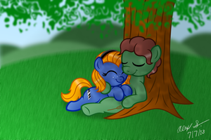 Commission:  Cuddling in the Shade by AleximusPrime