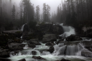Obrovsky waterfall in fog by awlodi