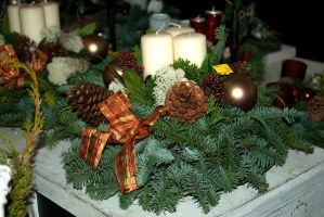 Christmas arrangement in brown by steppelandstock