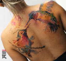 Watercolor hummingbirds by enhancertattoo