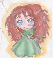 Chibi Merida (water colored) by 4naruto-girl