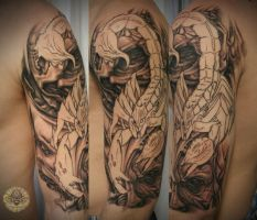 Skull faces Scorpion tat prog. by 2Face-Tattoo