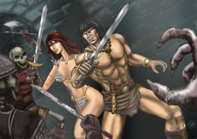 Conan and Sonja by rodstella