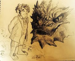 Middle-Earth: Bilbo and Smaug Sketch by Alexbee1236