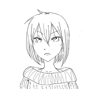 red haired girl lineart