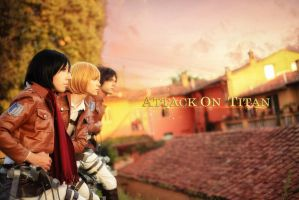 Eren, Armin, Mikasa Cosplay - Attacking by hakucosplay