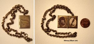 Brown Paper and Feather Pen in Book Locket by sidneyeileen