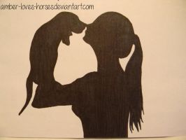 Girl and Dog Silhouette by Amber-Loves-Horses