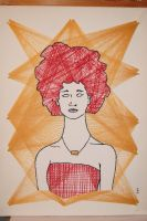 needle and thread drawing of a women with an afro by saxclonetrooper