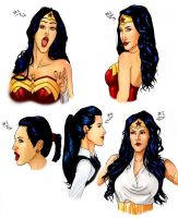 Kim Kardashian as Wonder Woman sketches colored by Art-Gem